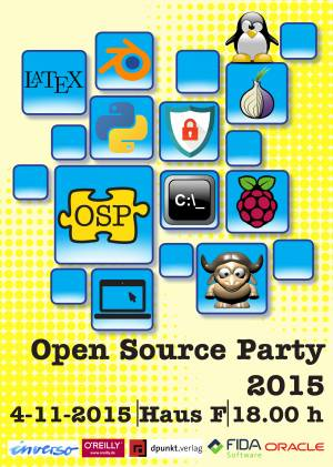 Plakat der Open Source Party 2015
